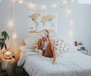 home, girl, and lights image