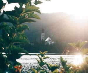 church, bled, and lake image