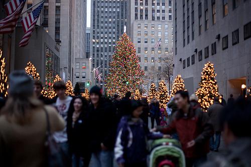 city, new york, and christmas shopping image