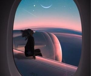 sky, moon, and airplane image
