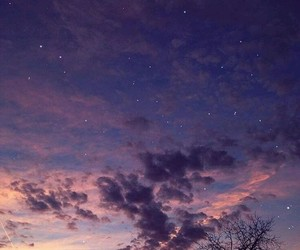 sky, stars, and purple image