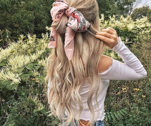 blonde, hairstyle, and scarf image