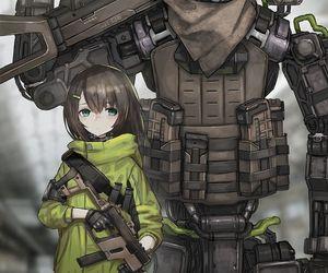 anime, girl, and robot image