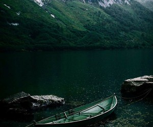 green, lake, and mountains image