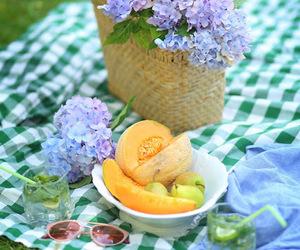 basket, hydrangea, and picnic image