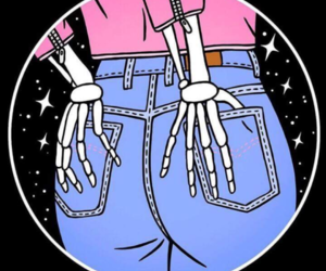 skeleton, skinny jeans, and outta space image