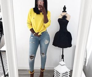 outfit, yellow, and dress image