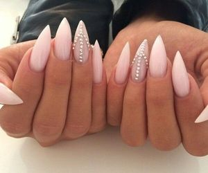nails, pink, and manicure image