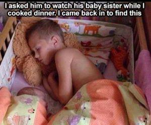 baby, siblings, and sleeping image