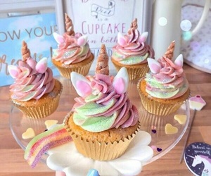 colorful, unicorn party theme, and cupcakes image