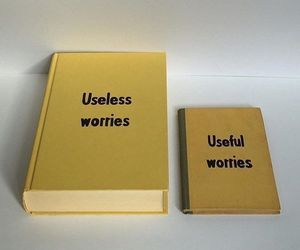 worry, yellow, and book image