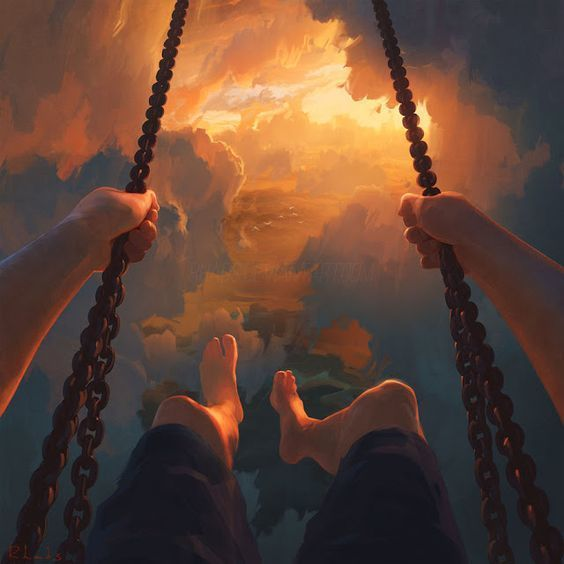 art, sky, and swing image