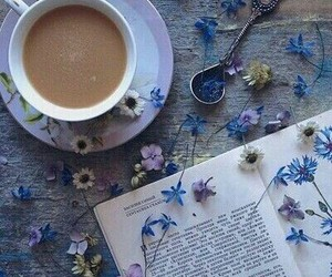 blue, books, and tea image