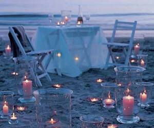 beach, candles, and romantic image