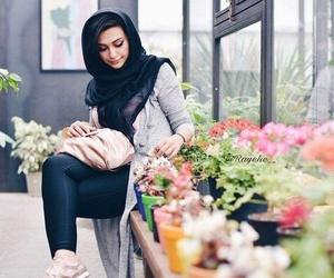 flowers, persian, and girl image