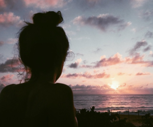 girl, sunset, and sky image