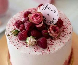 cake, pink, and raspberry image