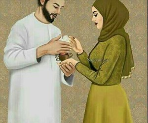 art, muslim, and couple image