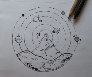 black&white, draw, and universe image