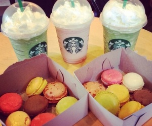 starbucks, food, and macaroons image