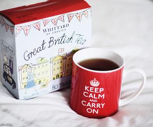 tea, keep calm, and british image