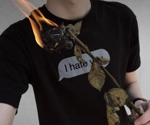 boy, shirt, and flames image