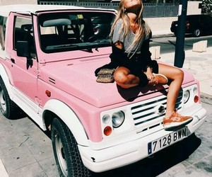girl, car, and pink image
