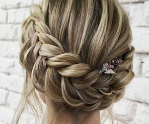blonde, braid, and updo image
