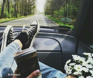 flowers, coffee, and car image