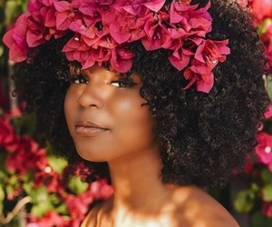 beauty, Afro, and flowers image