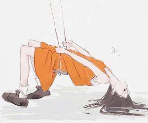 art, girl, and swing image