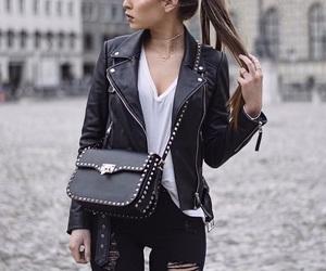 biker jacket, black, and clothes image