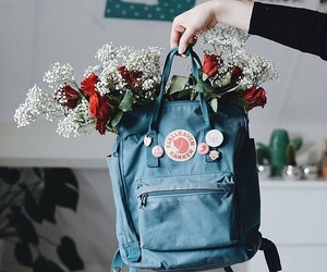 backpack, flowers, and school image