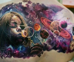 tattoo, girl, and space image