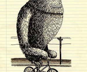 bicycle, drawing, and yeti image