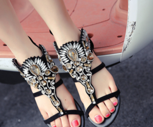 crystal, sandals, and fashion2017 image