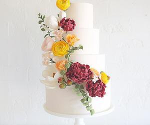 bridal, cake, and flowers image