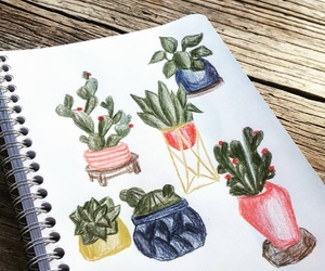 art, cacti, and doodles image
