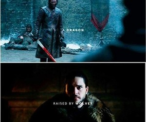 game of thrones, wolf, and jon snow image