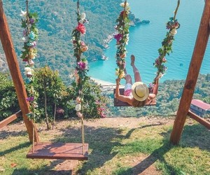 girl, flowers, and ocean image