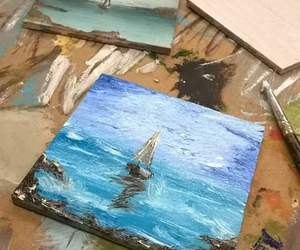 blue, impressionism, and ocean image