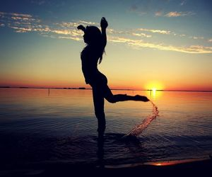 dance, sunset, and water image