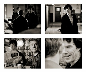 Martin Freeman, johnlock, and sherlock image