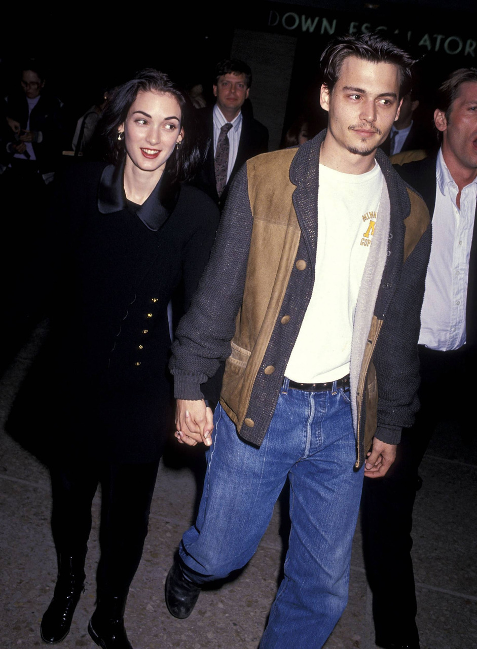winona ryder, johnny depp, and 90s image