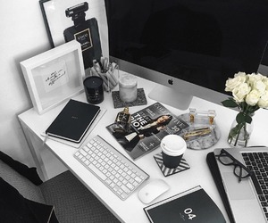agenda, computer, and desk image