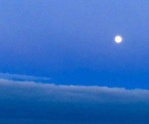 moon, sea, and blue image