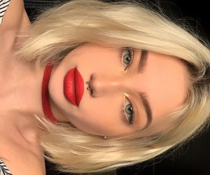 blond, girl, and red image