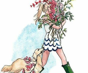 art, dogs, and flowers image
