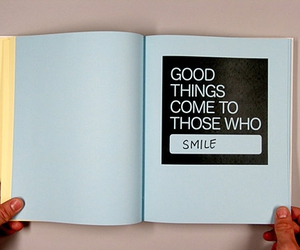 book, smile, and text image