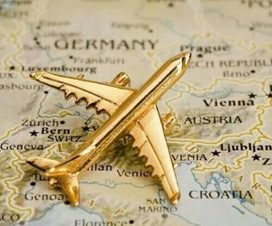 travel, gold, and airplane image